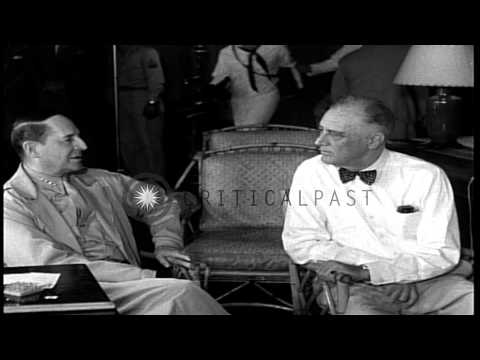 Events in career of Chester W. Nimitz. High level planning during World War II. HD Stock Footage