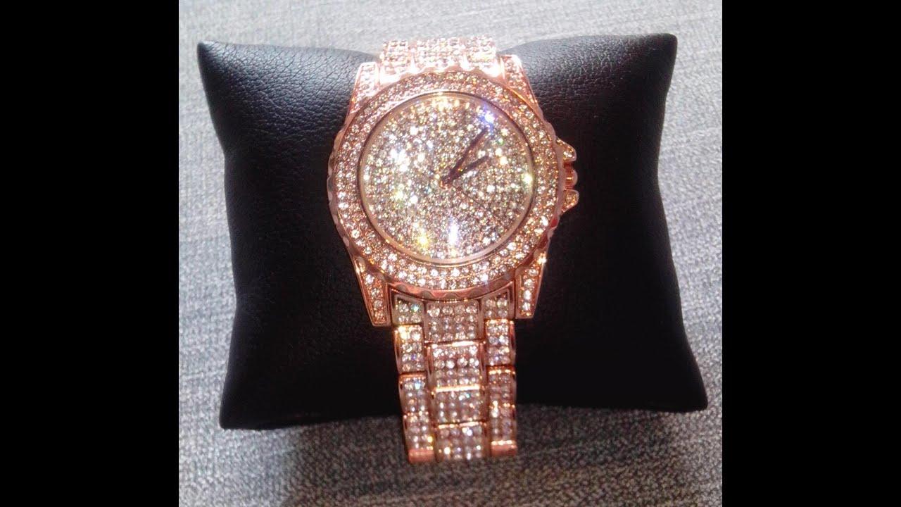 Часы розовое золото с камнями сваровски - YouTube