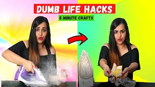TRYING Dumb LIFE HACKS by 5 Minute Crafts 😂