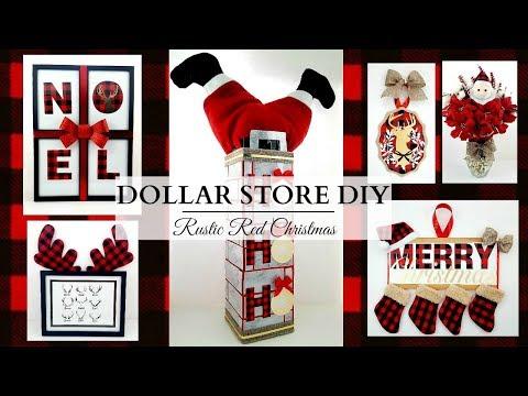Dollar Store DIY'S ~ Rustic RED Christmas Decor ~ Buffalo Check Theme!