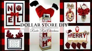 Dollar Store DIY'S ~ Red Buffalo Check Theme! ~ Rustic Christmas Decor!