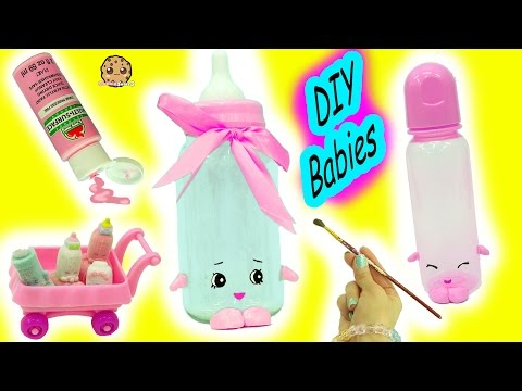 Giant & Real Baby Bottle Inspired Shopkins Babies - DIY Do It Yourself Craft Video