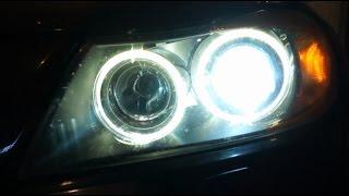 2007 bmw 335xi e90 headlight and angel eye bulb change
