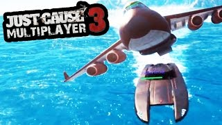 JUST CAUSE 3 MULTIPLAYER - HARDEST PLANE & BOAT STUNT! (JUST CAUSE 3 MULTIPLAYER CHALLENGES)
