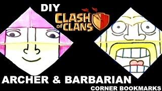2 Clash of Clans/ Clash Royale Bookmark Corner - Barbarian & Archer DIY - Origami Inspired