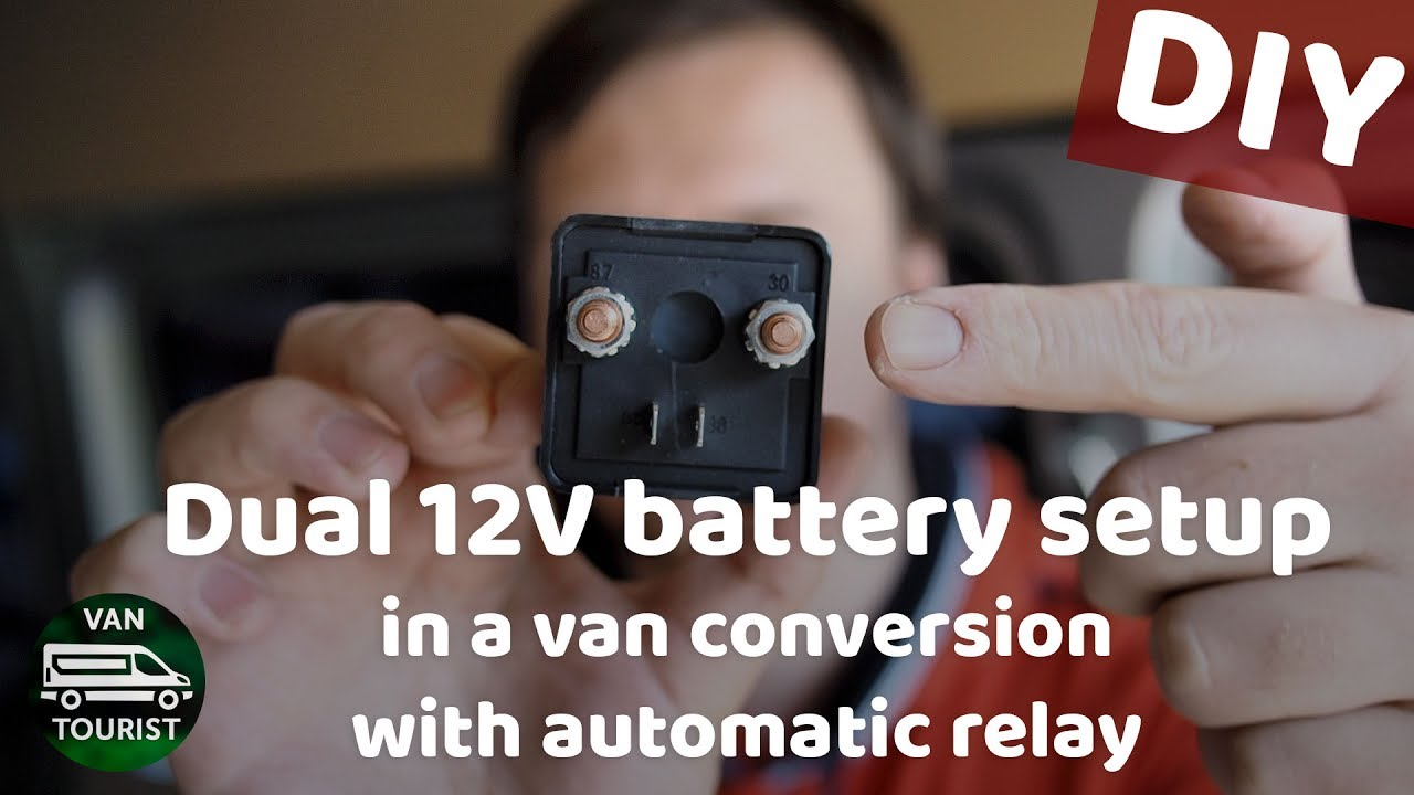 dual battery setup in van conversion with auto relay isolating battery system [ 1280 x 720 Pixel ]