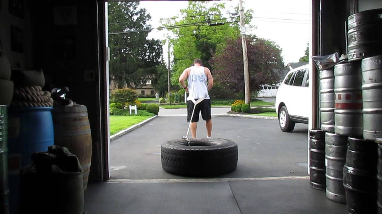 Incredible Leg Workout - Tire Drag/Harness Pull - YouTube