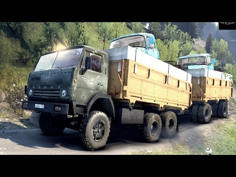 SPINTIRES 2014 - The Hill Map - KAMAZ 55102 + Full Trailer Loaded With 2 ZIL Trucks Going Up Hill