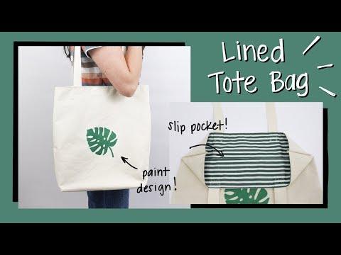 Lined Tote Bag Tutorial w/ Paint Design & Slip Pocket | Sannari