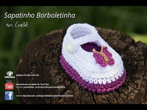 Favoritos Sapatinho de Crochê Borboletinha - Professora Simone - YouTube JC32