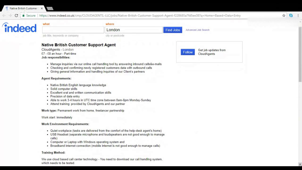 work from home as a native british customer support agent with