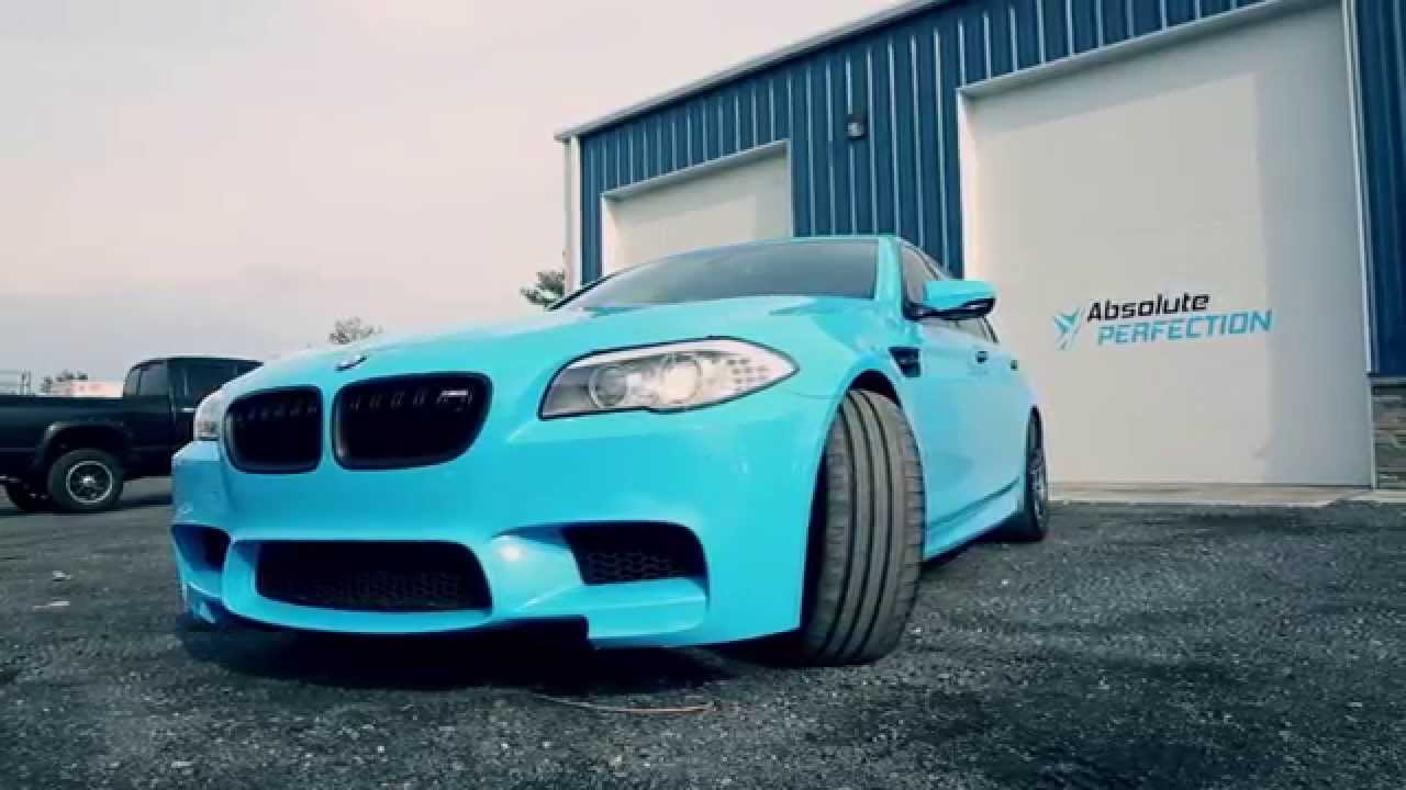 2013 BMW M5 Riviera Blue Vehicle Wrap - YouTube