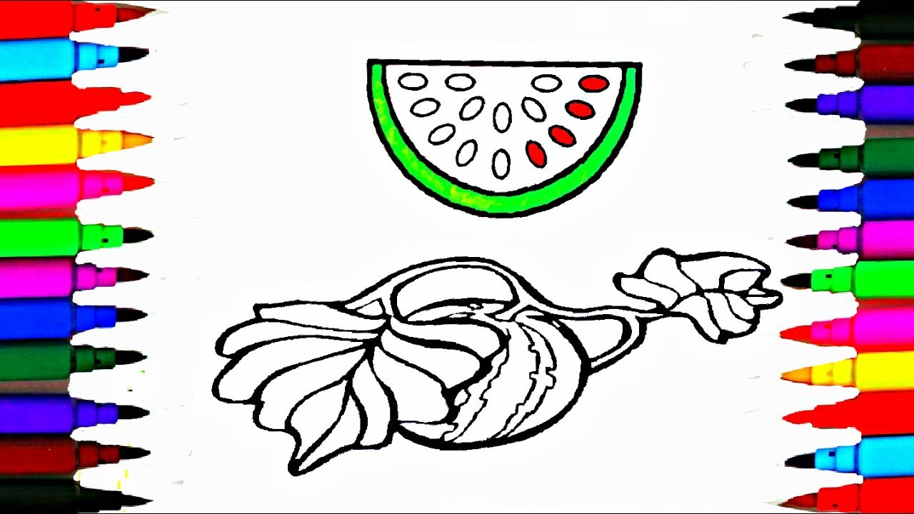 watermelon coloring pages l fruits sliced coloring drawing pages l ... - Slice Watermelon Coloring Page