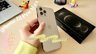 iPhone 12 Pro Max Gold Unboxing + Accessories ✨  | Aesthetics |