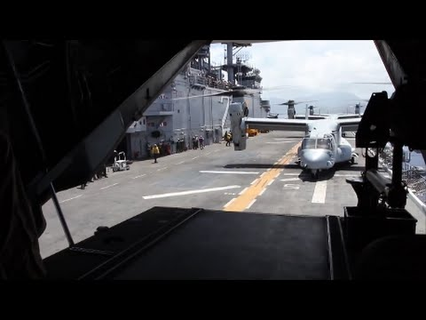 Marine MV-22 Osprey Tiltrotor Aircraft Taking Takeoff from USS Essex LHD 2 Amphibious Assault Ship