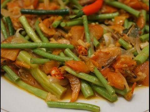 Paano magluto Sitaw at Hibe Long Beans with dried Shrimp Pinoy Cooking - Tagalog