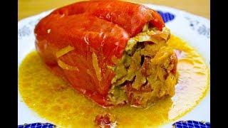 Перцы фаршированные в сметаном соусе. Pimientos rellenos de carne picada