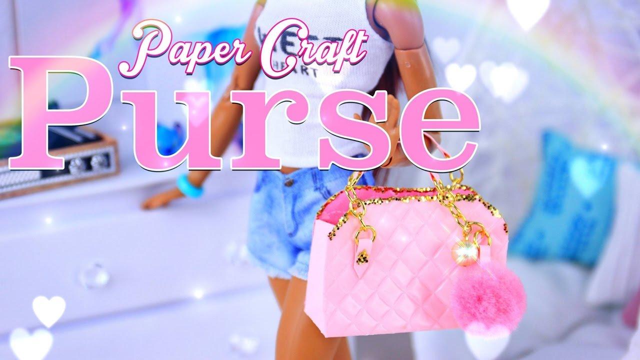 81111cd34251 DIY - How to Make  Doll Purse   Hand Bag PLUS Pom Pom Keychain - Paper  Craft - 4K