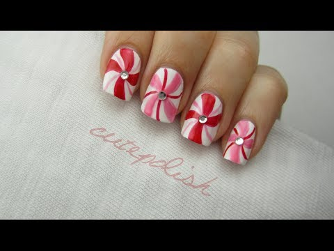 Peppermint Swirl Nail Art Youtube