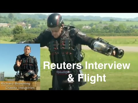 """Britains 'Iron Man' breaks his own jet suit speed record"" - filming with Reuters"