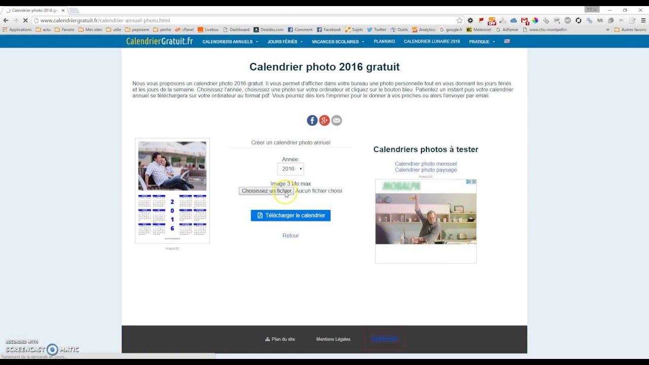 Cr er un calendrier 2017 gratuitement youtube - Creer un calendrier photo ...