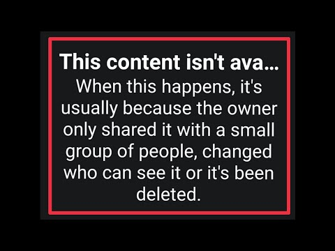Facebook | This  Content isn't available Problem in Facebook