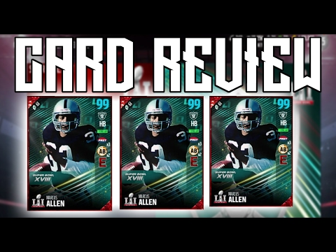 NEW MARCUS ALLEN SUPER BOWL LEGEND CARD REVIEW!!! |MADDEN 17 ULTIMATE TEAM CARD REVIEW