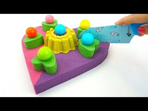 Кинетическии песок, лепим торт, рукоделие для детеи, детскии канал, развивающее видео для детеи