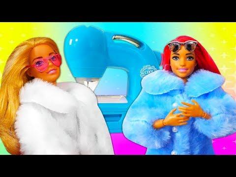 Видео про куклы. Одежда для Барби. Как сшить шубку?