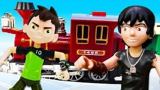 Видео про игрушки из мультфильмов. Бен Тен путешествует на поезде! Бен 10 и Кевин
