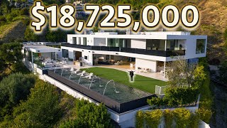 INSIDE a $18,725,000 BEVERLY HILLS MODERN MANSION with City Views!
