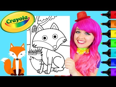 coloring-cute-fox-crayola-coloring-page-prismacolor-paint-markers-|-kimmi-the-clown