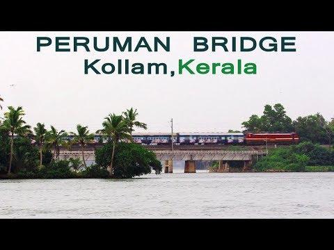 Amazing !!! Train On Peruman Bridge At Kollam, Kerala