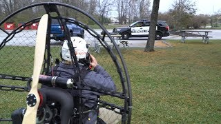 Paramotor noob tries to fly, failed launches, police, persistence pays off 6th flight 4k.