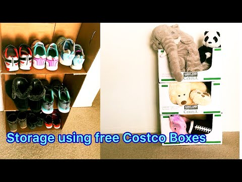 Cardboard Shoe rack👠👞 | Recycle free Costco Boxes📦 | DIY Toys Storage | 👞 👠 | DIY Costco Boxes