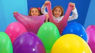 Slime con huevos gigantes de pascua de colores Las Ratitas