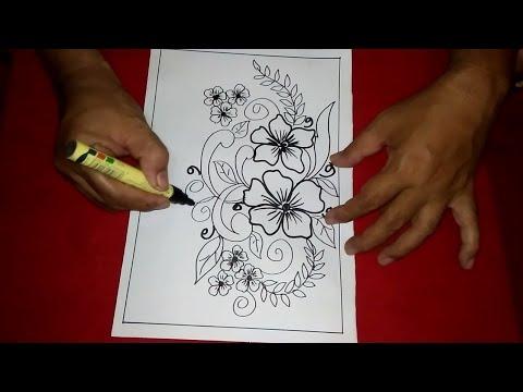 Cara Menggambar Batik Motif Bunga 6 Youtube