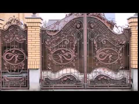 Кованые ворота с профнастилом и без