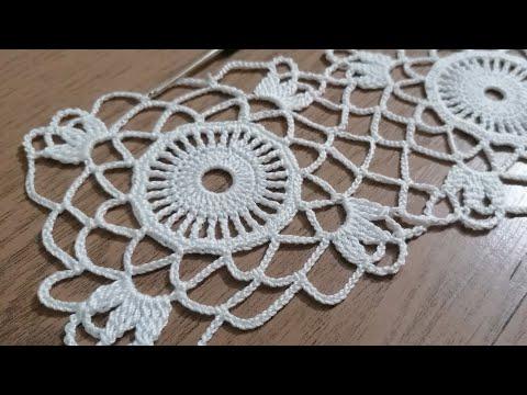 Tığişi örgü dantel motifi yapımı, vitrin danteli, masa örtüsü, runner