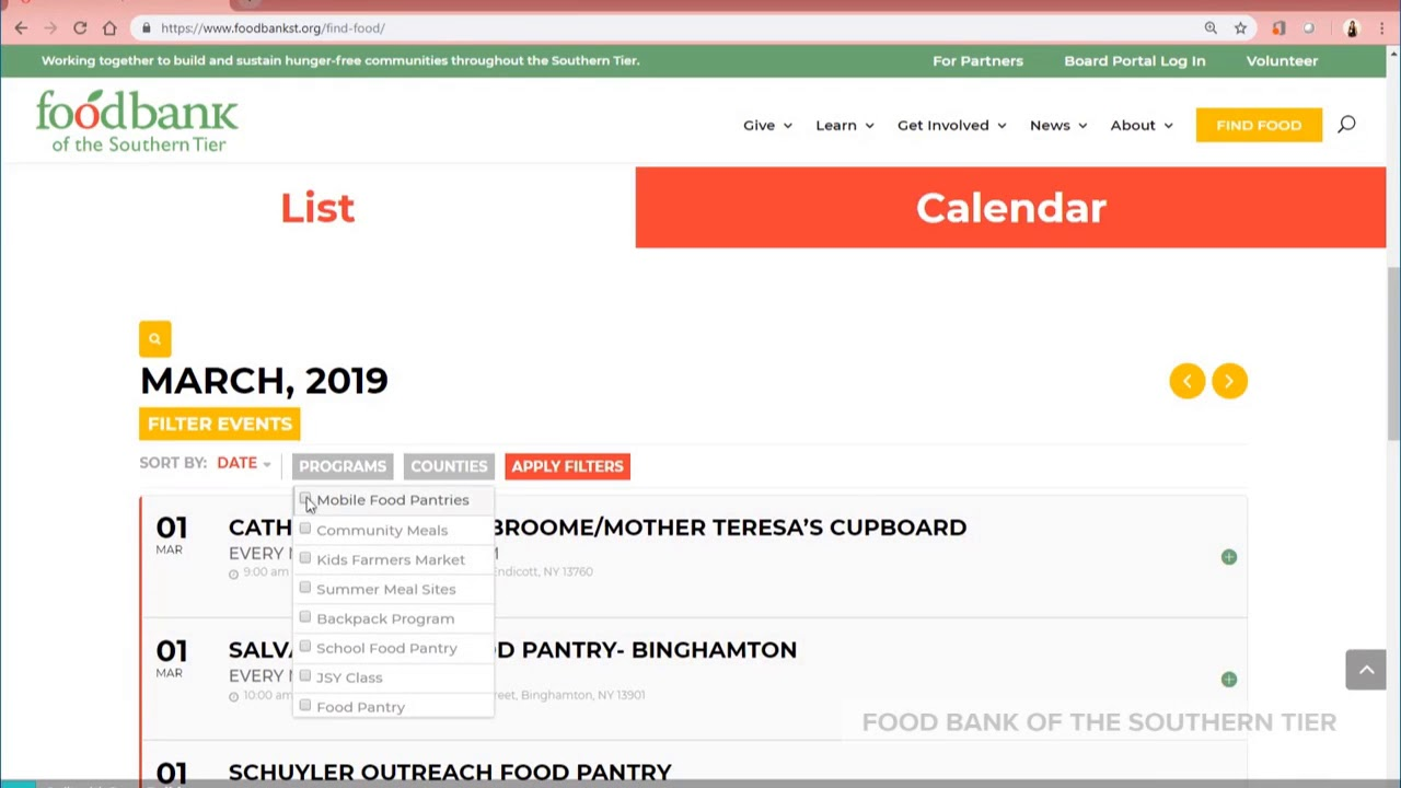 Find Food Banks, Pantries Near Me - Southern Tier, NY | Food Bank of
