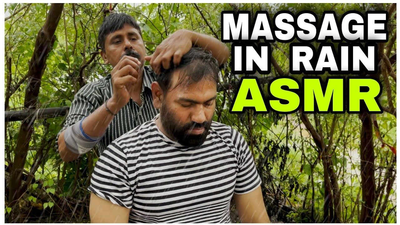 ASMR Head Massage In Rain 🌧, Visited Indian Barber Home with REIKI MASTER