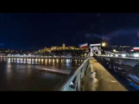 Motion timelapse of Chain bridge in Budapest, Hungary