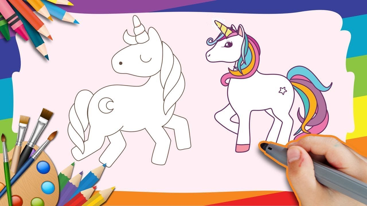 How To Draw A Cute Unicorn Step By Step For Kids Very Detailed