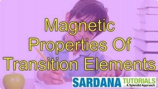 Magnetic Properties Of Transition Elements