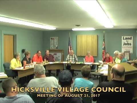 Hicksville Village Council Meeting 8-21-17