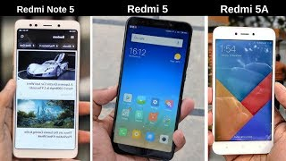 Redmi 5 vs Redmi Note 5 vs Redmi 5A