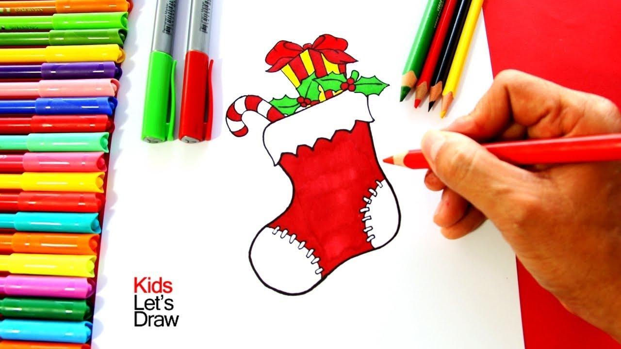 C mo dibujar un calcet n de navidad how to draw a - Calcetin de navidad ...
