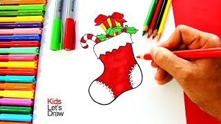Cómo dibujar un Calcetín de Navidad | How to draw a Christmas Sock