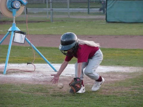 Put me in coach! Cute girl (Destiny) playing baseball!