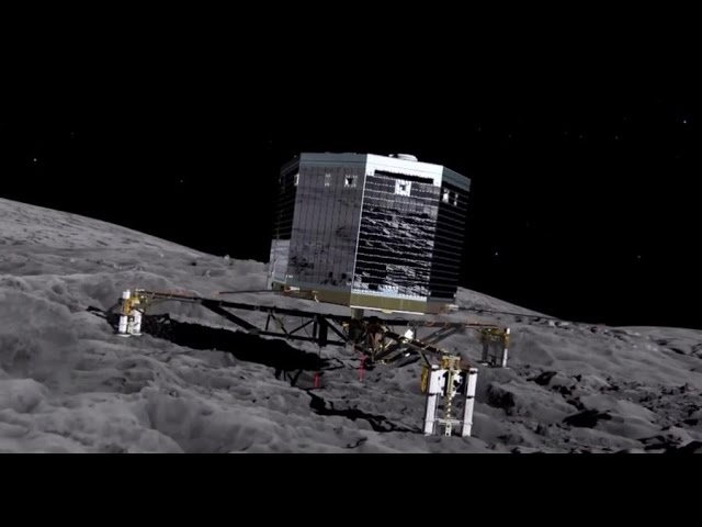 Посадка спускаемого зонда Philae на поверхность кометы 67P/Чурюмова-Герасименко
